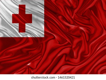 Tonga Flag of Silk, Flag of Tonga fabric texture background.