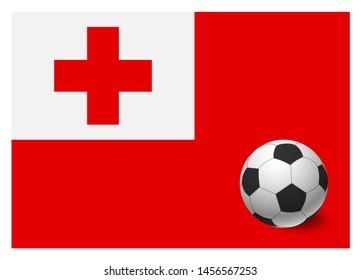 Tonga flag and soccer ball. National football background. Soccer ball with flag of Tonga  illustration