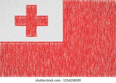 Tonga painted flag. Patriotic drawing on paper background. National flag of Tonga