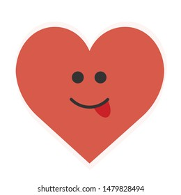 Tongue Sticking Out Heart Cartoon Illustration Isolated