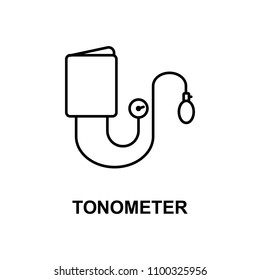 tonometer icon. Element of measuring instruments icon with name for mobile concept and web apps. Thin line tonometer icon can be used for web and mobile. Premium icon on white background