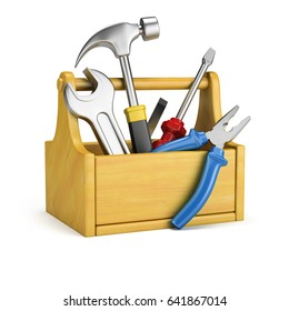 Tool box with tools. 3d image. Isolated white background.
