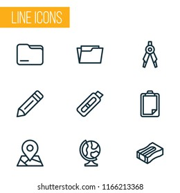 Tool icons line style set with globe, folder, open folder and other writing elements. Isolated  illustration tool icons.