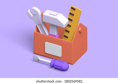 Toolbox 3D render with repair equipment of roller, hammer, screwdriver. 3d render concept tools for repair, tools at hand.