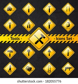 Toolbox attention yellow and black signs collection isolated  illustration