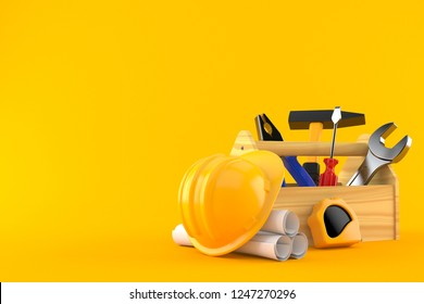 Toolbox with blueprints isolated on orange background. 3d illustration