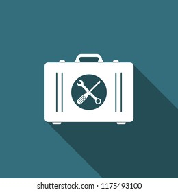 Toolbox icon isolated with long shadow. Flat design