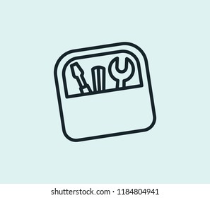 Toolbox icon line isolated on clean background. Toolbox icon concept drawing icon line in modern style.  illustration for your web mobile logo app UI design.