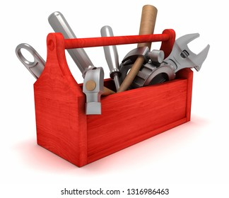 Toolbox with tools. 3D rendering illustration