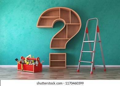 Toolbox with tools, ladder and bookshelf in form of question mark. Renovation, construction and improvement FAQ concept. 3d illustration