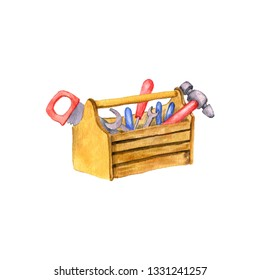 toolbox, watercolor instruments toolkit isolated at white background