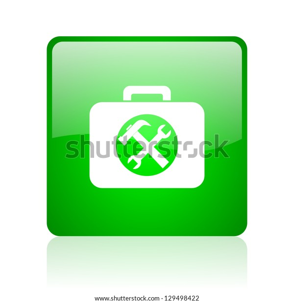 toolkit green square web icon on white background