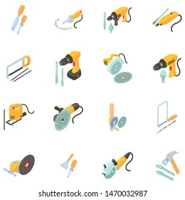 Toolkit icons set. Isometric set of 16 toolkit icons for web isolated on white background