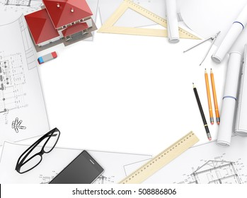 Tools of the architect and architectural drawings isolated on white background. Top view with copy space. 3D illustration.