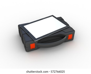 Tools box and tablet PC. 3D illustration