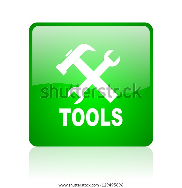 tools green square web icon on white background