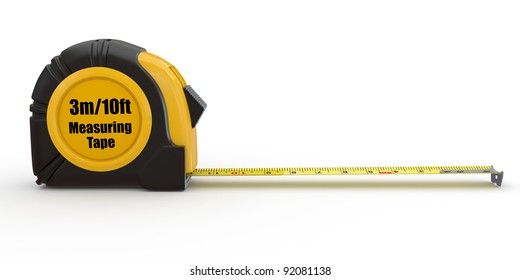 Tools. Measure tape on white background. 3d