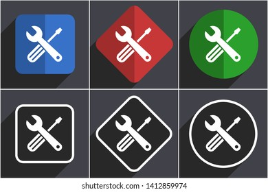 Tools set of flat design web icons in 6 options