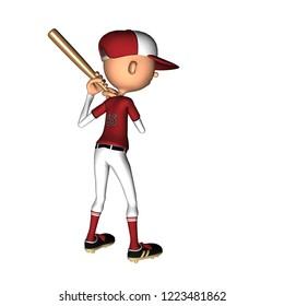 toon character baseball 3d illustration