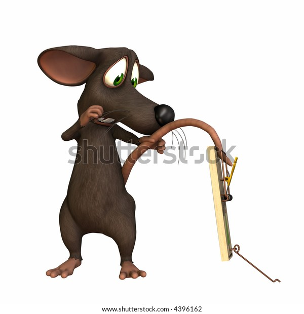 A toon mouse with his tail caught in a mouse trap. Isolated on a white background.