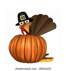 Toon Thanksgiving Turkey Wearing A Pilgrim Hat Popping Out Of Pumpkin Isolated