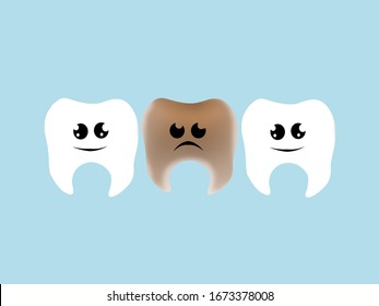 Tooth. Background with clean and dirty teeth. Cleaning of dental plaque. Dentistry, medicine. Emotions.
