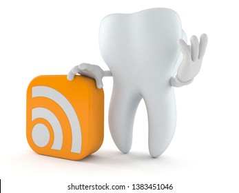 Tooth character with RSS icon isolated on white background. 3d illustration