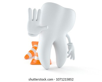 Tooth character with traffic cone isolated on white background. 3d illustration