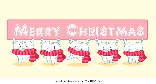 tooth with christmas on the yellow background - Shutterstock ID 719185189
