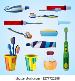 Tooth cleaning tool concept background. Cartoon illustration of tooth cleaning tool concept background for web design