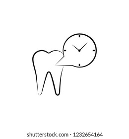tooth, clock icon. Element of dantist for mobile concept and web apps illustration. Hand drawn icon for website design and development, app development