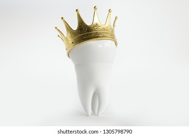 Tooth with a crown -- 3D Rendering