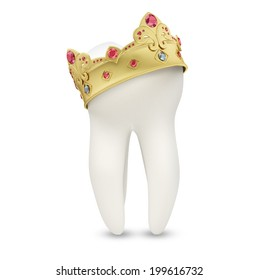 Tooth with a crown on it