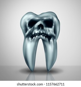 Tooth decay disease danger as a cavity or cavities symbol showing the risk of tooth anatomy in decay due to bacteria and acids shaped as a death skull rotting as a 3D render.