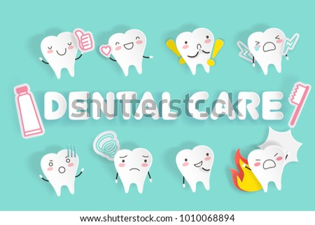 Tooth Dental Care On Green Background Ilustración De Stock1010068894