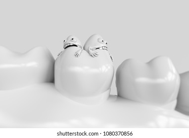 Tooth human cartoon bacteria. Caries bacteria eat the teeth - 3D rendering