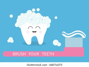 Tooth icon. Brush your teeth. Big toothbrush with toothpaste bubble foam. Cute funny cartoon smiling character. Oral dental hygiene. Health care. Baby background. Flat design.