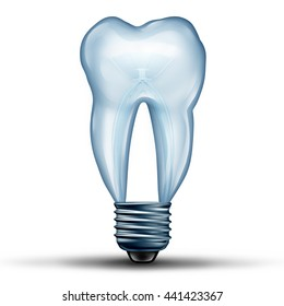 Tooth idea as a lightbulb or light bulb shaped as human molar teeth icon shape as an icon for dental health and oral medicine or stomatology doctor symbol as a 3D illustration.