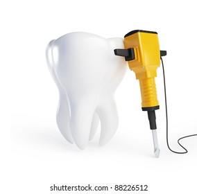 tooth with a jackhammer on a white background
