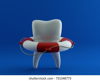 Tooth in the lifebuoy, on blue background. Protect Your Teeth Concept. 3d illustration