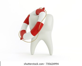 Tooth in the lifebuoy, on white background. Protection of your teeth concept. 3d illustration