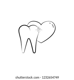 tooth love, tooth icon. Element of dantist for mobile concept and web apps illustration. Hand drawn icon for website design and development, app development