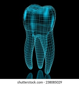 Tooth mesh in blue over a black background. Part of a series.