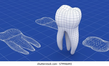 Tooth mesh over a blueprint. Part of a series. 3D rendering.
