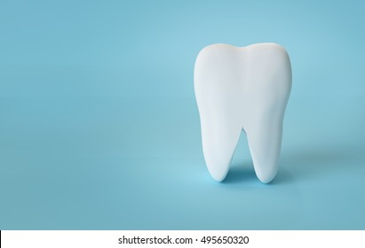 tooth on a blue background,3d rendering