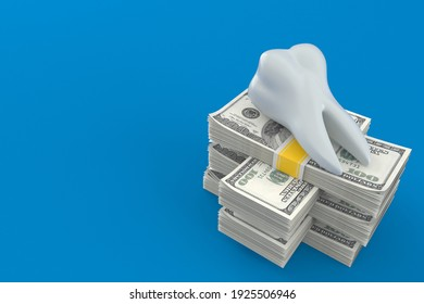 Tooth on stack of money isolated on blue background. 3d illustration