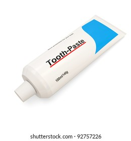 Tooth Paste Tube on white background