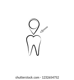 tooth, pin icon. Element of dantist for mobile concept and web apps illustration. Hand drawn icon for website design and development, app development