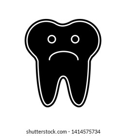 Tooth sad face sign icon. Element of Dantist for mobile concept and web apps icon. Glyph, flat icon for website design and development, app development
