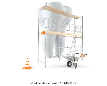 Tooth with scaffolding isolated on white background. 3d illustration
